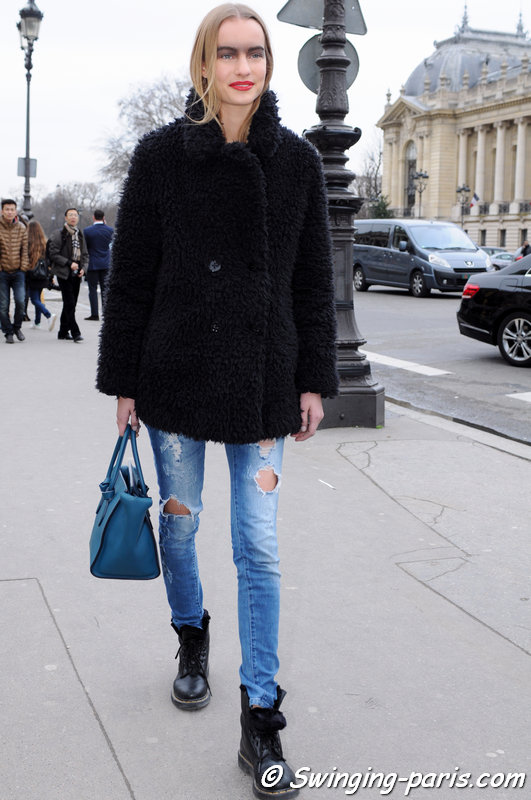 Maartje Verhoef leaving Chanel show, Paris Haute Couture S/S 2015 Fashion Week, January 2015