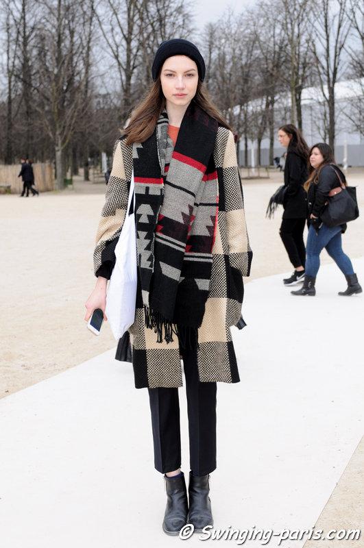 Maria Czerniak leaving Valentino show, Paris F/W 2015 RtW Fashion Week, March 2015