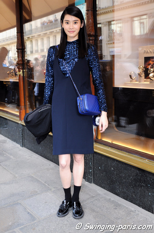 "Mengyao ""Ming"" Xi leaving Balmain show, Paris F/W 2015 RtW Fashion Week, March 2015"