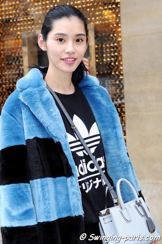 """Mengyao """"Ming"""" Xi leaving Schiaparelli show, Paris Haute Couture S/S 2015 Fashion Week, January 2015"""