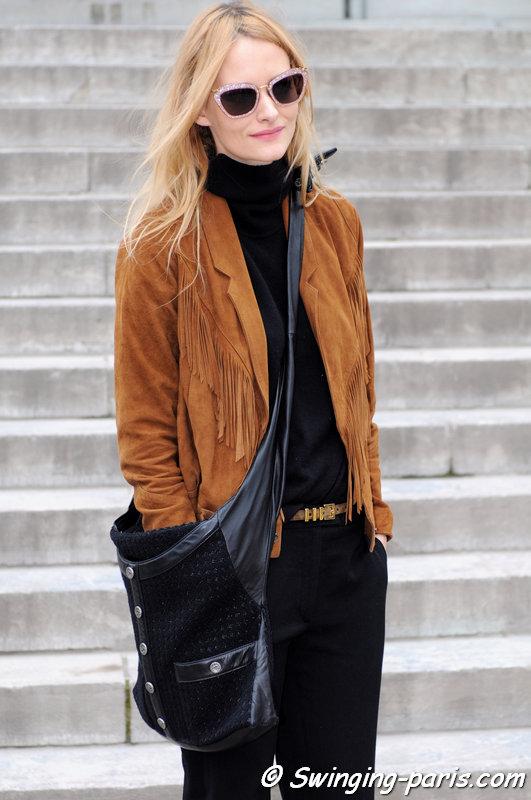 Nadine Strittmatter leaving Chanel show, Paris F/W 2015 RtW Fashion Week, March 2015