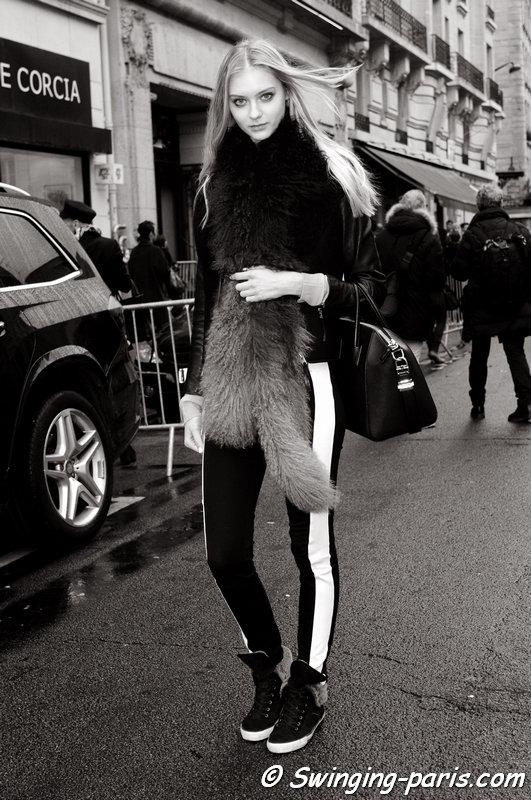 Nastya Kusakina (Настя Кусакина) leaving Jean Paul Gaultier show, Paris Haute Couture S/S 2015 Fashion Week, January 2015