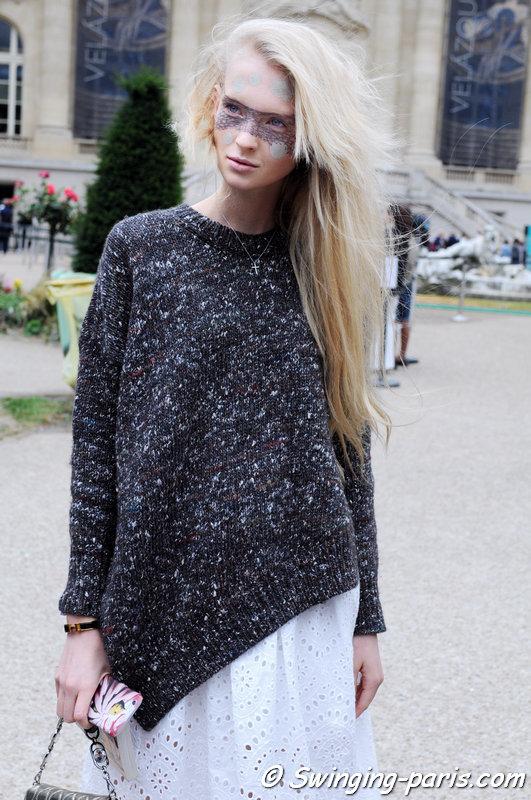 Nastya Sten (Настя Стен) leaving Maison Margiela show, Paris Haute Couture F/W 2015 Fashion Week, July 2015