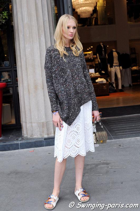 Nastya Sten (Настя Стен) outside Elie Saab show, Paris Haute Couture F/W 2015 Fashion Week, July 2015
