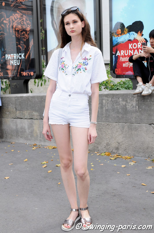 Nika Sykala leaving Georges Chakra show, Paris Haute Couture F/W 2015 Fashion Week, July 2015