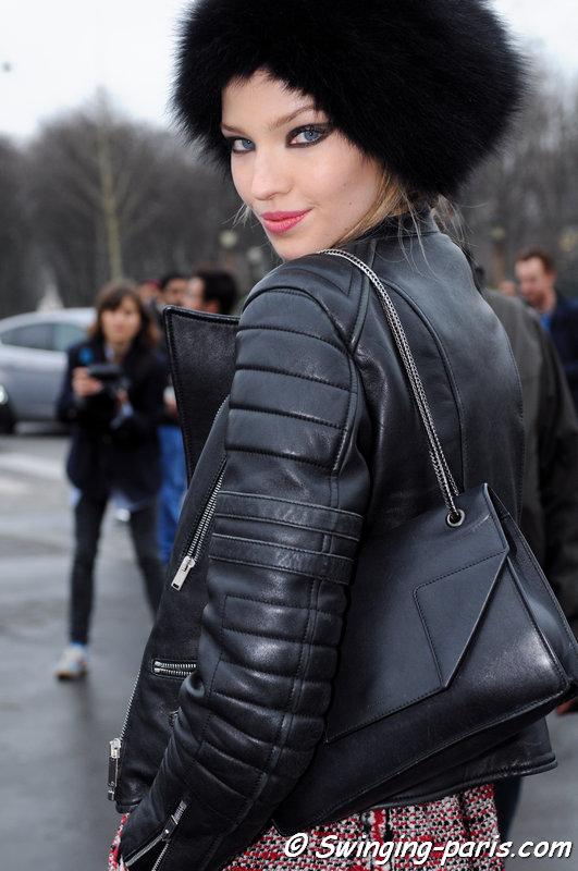 Sasha Luss (Саша Лусс) leaving Chanel show, Paris F/W 2015 RtW Fashion Week, March 2015