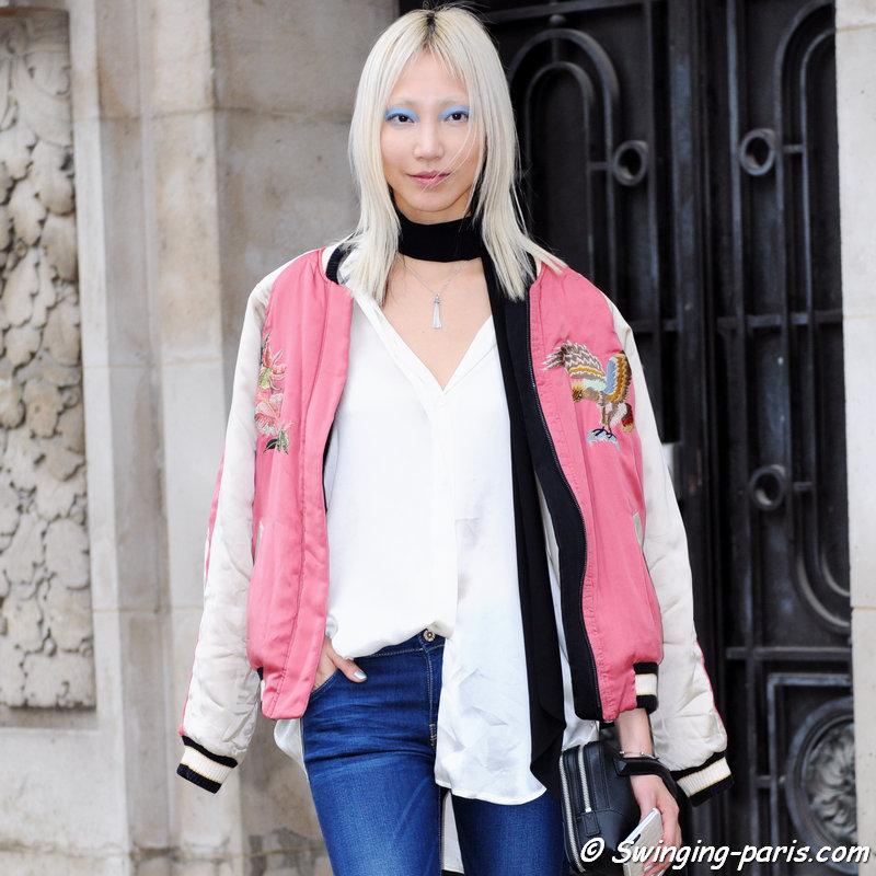 Soo Joo Park (수주 박) leaving Chanel show, Paris S/S 2016 RtW Fashion Week, October 2015