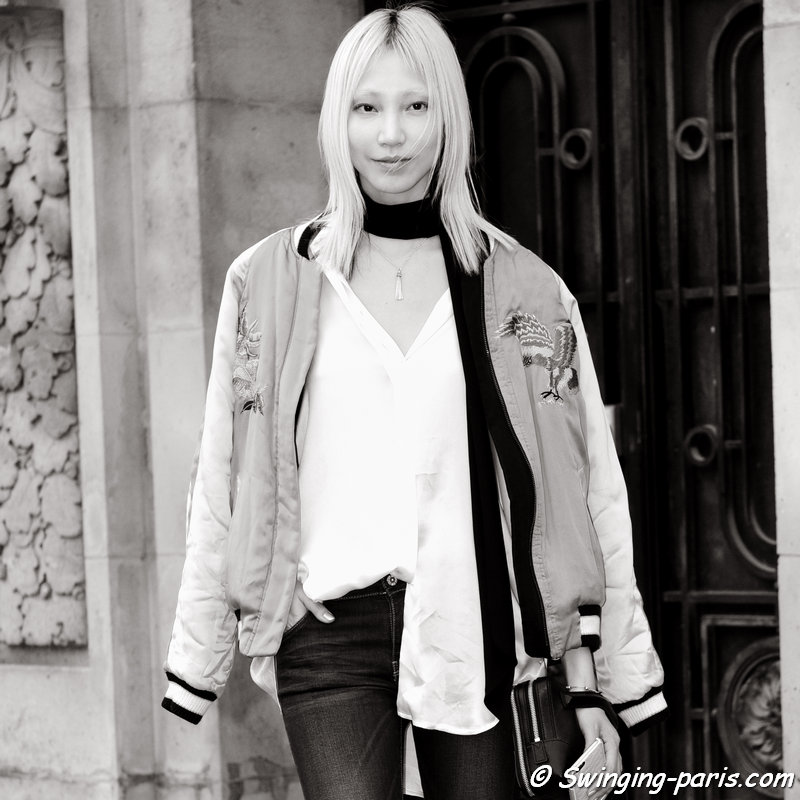 Soo Joo Park (수주 박) leaving Chanel show, Paris S/S 2016 RtW Fashion Week, October 2015