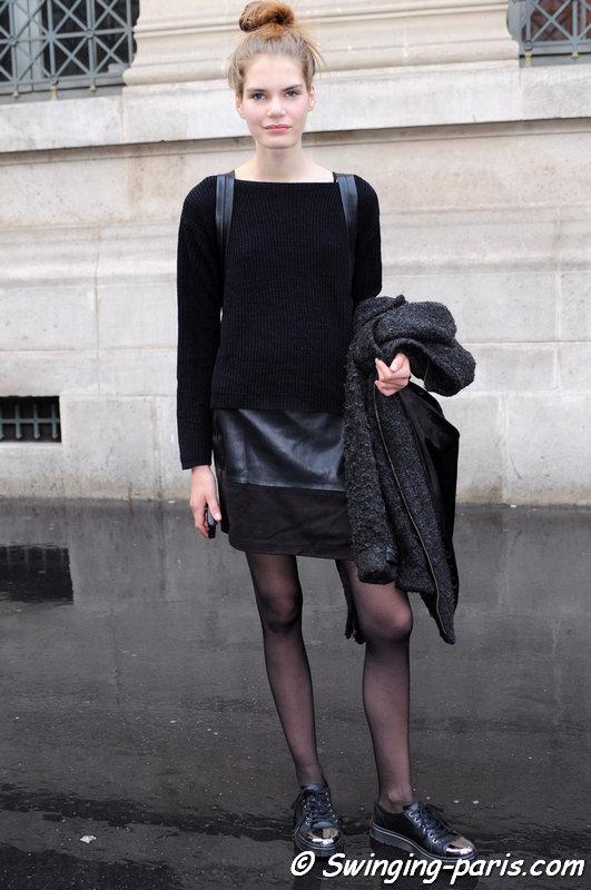 Sophie Rask outside Iris van Herpen show, Paris S/S 2016 RtW Fashion Week, October 2015
