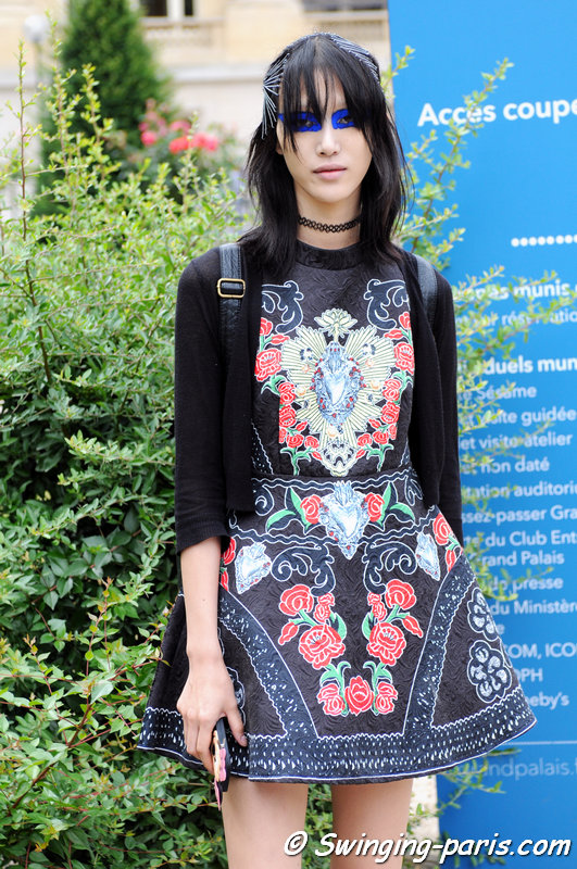 Sora Choi leaving Maison Margiela show, Paris Haute Couture F/W 2015 Fashion Week, July 2015