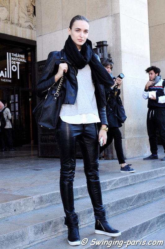 Stasha Yatchuk leaving Ann Demeulemeester show, Paris S/S 2016 RtW Fashion Week, October 2015