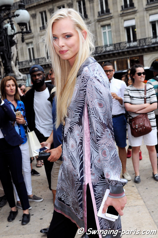 Tanya Dziahileva (or Dyagileva, Таццяна – Таня – Дзягілева) leaving Alexis Mabille show, Paris Haute Couture F/W 2015 Fashion Week, July 2015