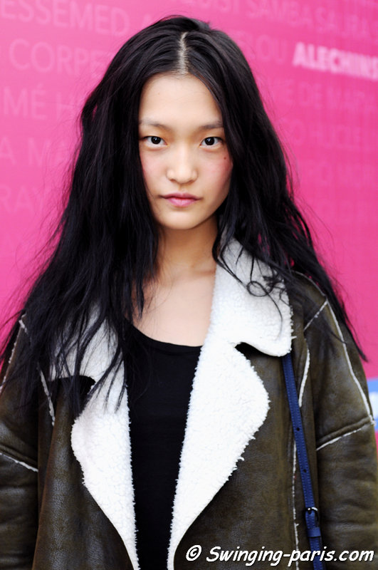 Wangy Xinyu leaving Moncler Gamme Rouge show, Paris S/S 2016 RtW Fashion Week, October 2015