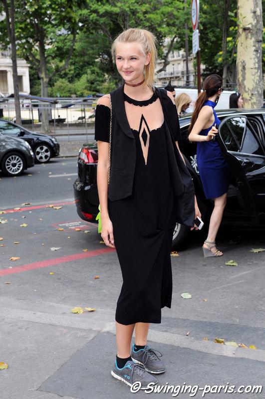 Yana Trufanova leaving Georges Chakra show, Paris Haute Couture F/W 2015 Fashion Week, July 2015