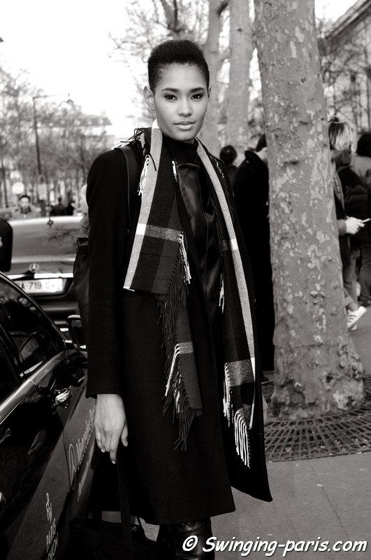 Ysaunny Brito leaving Barbara Bui show, Paris F/W 2015 RtW Fashion Week, March 2015