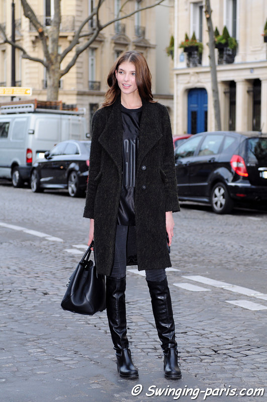 Anastasia Lagune leaving Georges Chakra show, Paris Haute Couture SS 2016 Fashion Week, January 2016