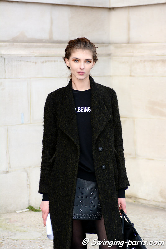 Anastasia Lagune leaving Léonard show, Paris FW 2016 RtW Fashion Week, March 2016