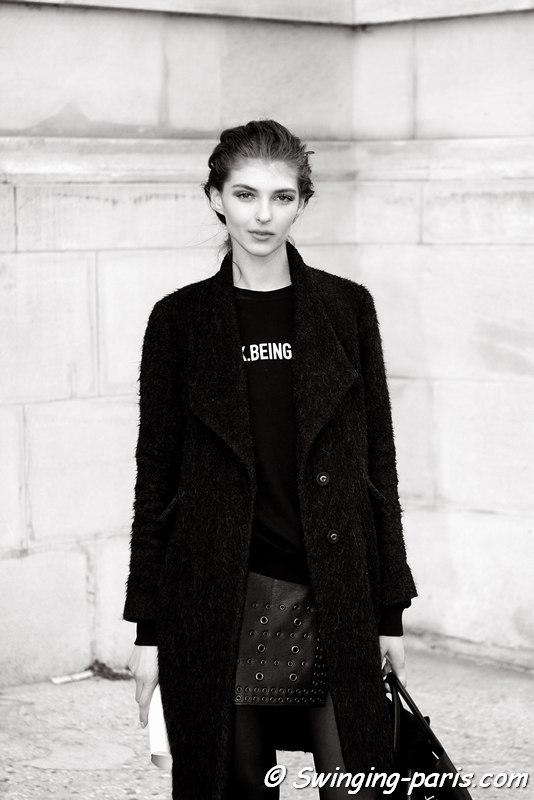 Anastasia Lagune leaving Léonard show, Paris FW 2016 RtW Fashion Week, March 2016