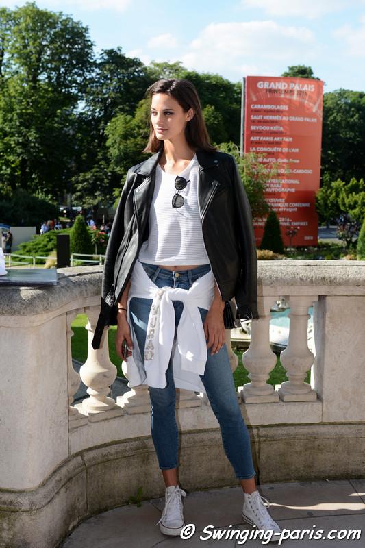Anja Leuenberger leaving Zuhair Murad show, Paris F/W 2016 Haute Couture Fashion Week, July 2016