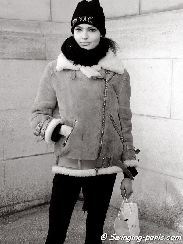 Anna Mila Guyenz leaving Barbara Bui show, Paris FW 2016 RtW Fashion Week, March 2016