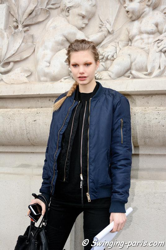 Annika Krijt outside Léonard show, Paris FW 2016 RtW Fashion Week, March 2016