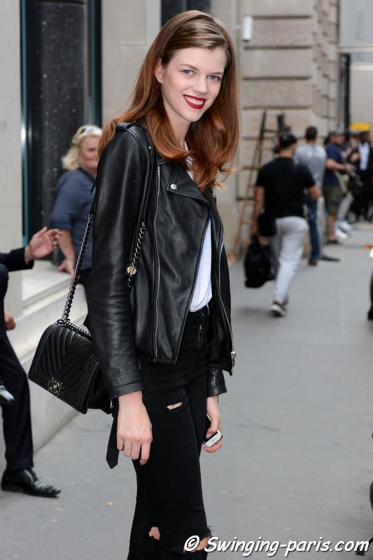 Antonia Wesseloh leaving Elie Saab show, Paris F/W 2016 Haute Couture Fashion Week, July 2016