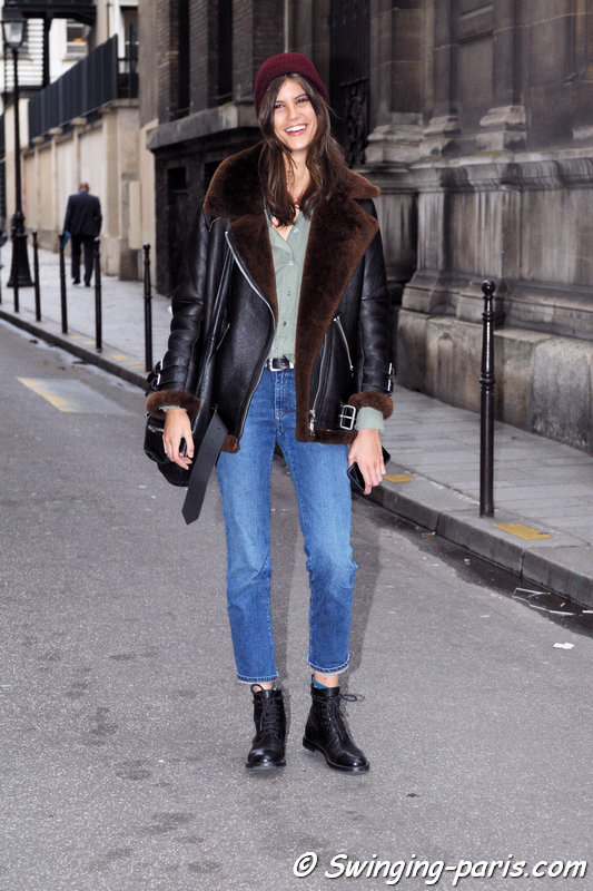 Antonina Petkovic leaving Jean Paul Gaultier show, Paris Haute Couture SS 2016 Fashion Week, January 2016