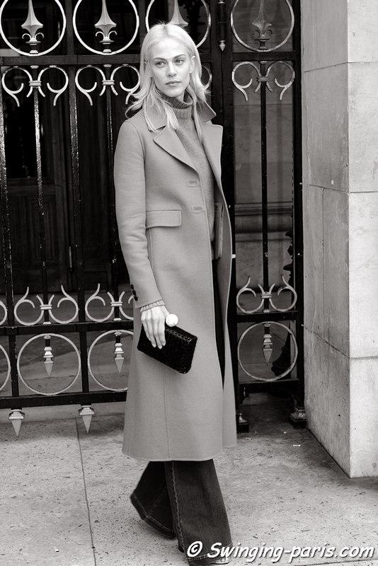 Aymeline Valade before Stella McCartney show, Paris FW 2016 RtW Fashion Week, March 2016