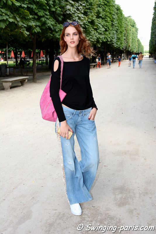 Brigitta Liivak leaving Georges Chakra show, Paris F/W 2016 Haute Couture Fashion Week, July 2016
