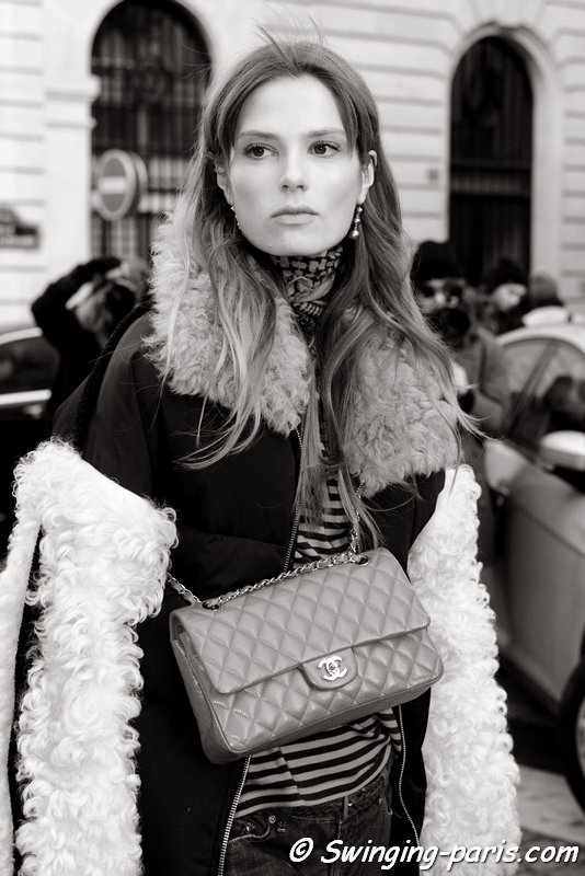 Caroline Brasch Nielsen leaving Balmain show, Paris FW 2016 RtW Fashion Week, March 2016