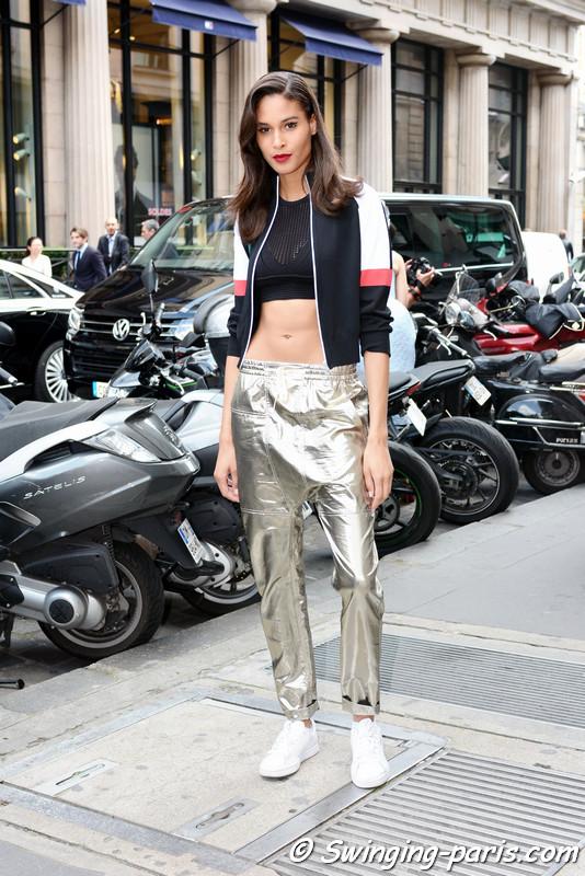 Cindy Bruna leaving Elie Saab show, Paris F/W 2016 Haute Couture Fashion Week, July 2016