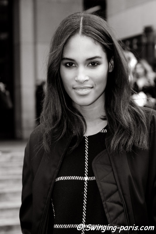 Cindy Bruna leaving Elie Saab show, Paris Haute Couture SS 2016 Fashion Week, January 2016