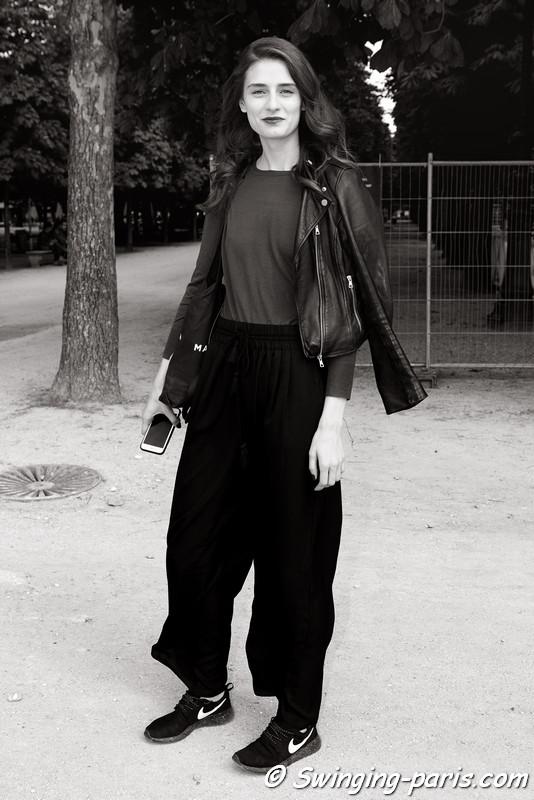Daniela Aciu outside Georges Chakra show, Paris F/W 2016 Haute Couture Fashion Week, July 2016