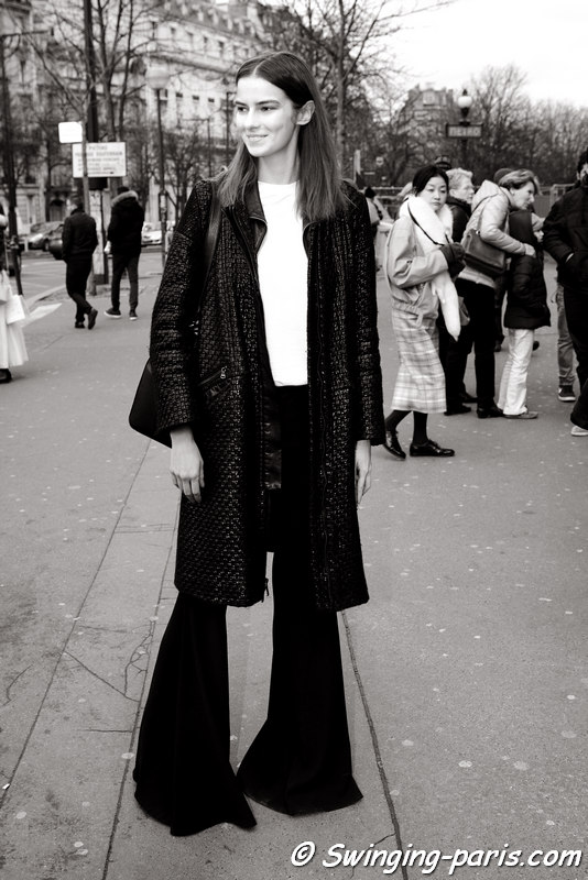 Dasha Denisenko outside Ann Demeulemeester show, Paris FW 2016 RtW Fashion Week, March 2016