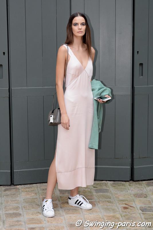 Dasha Denisenko outside Alexis Mabille show, Paris F/W 2016 Haute Couture Fashion Week, July 2016