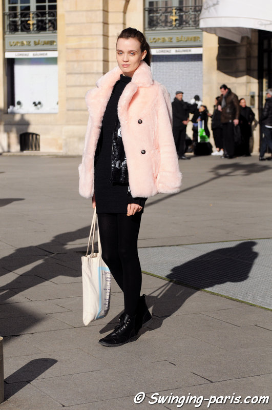 Flo Dron leaving Schiaparelli show, Paris Haute Couture SS 2016 Fashion Week, January 2016