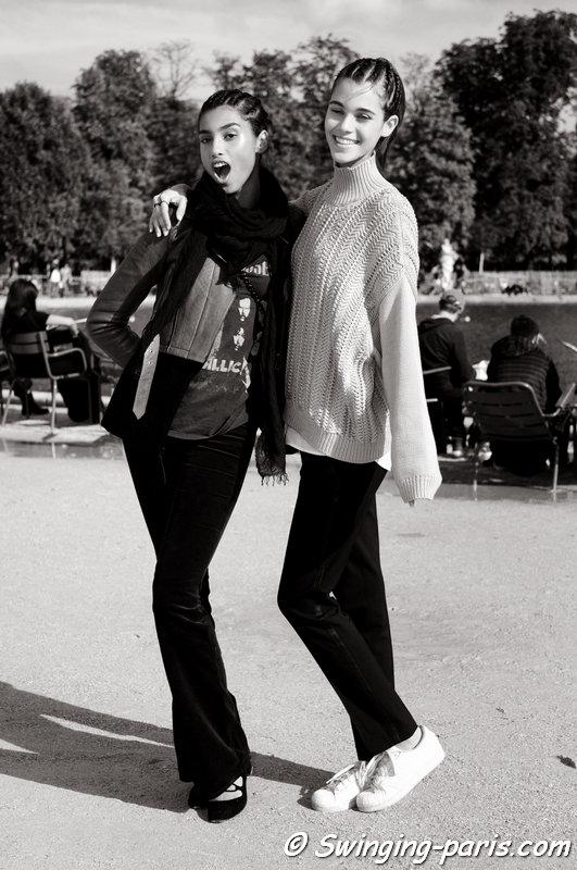 Imaan Hammam (left) and Pauline Hoarau leaving Valentino show, Paris S/S 2016 RtW Fashion Week, October 2015