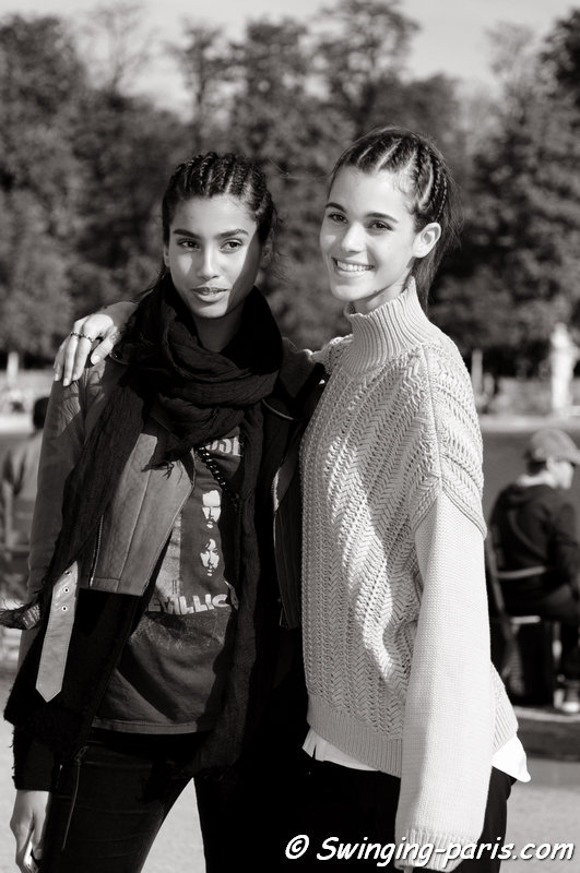 Imaan Hammam (left) and Pauline Hoarau leaving Valentino show, Paris S/S 2016 RtW Fashion Week, October 2015