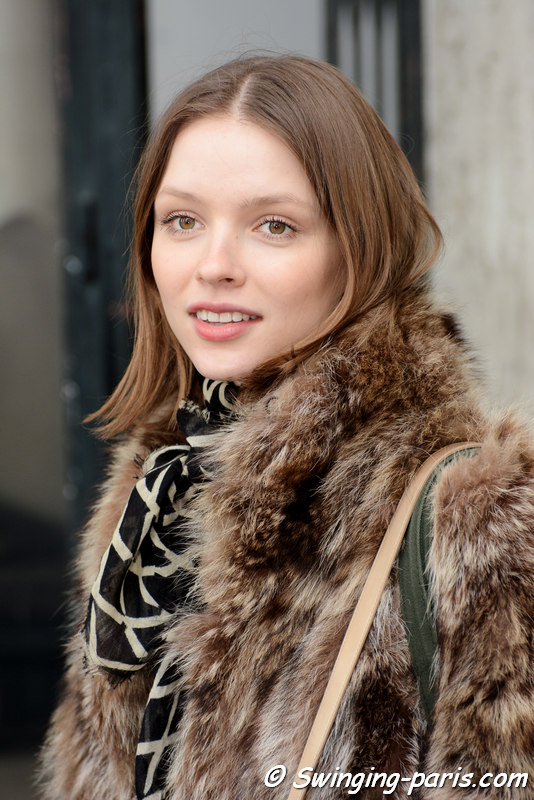 Ira Sumbaeva leaving Agnès B show, Paris FW 2016 RtW Fashion Week, March 2016