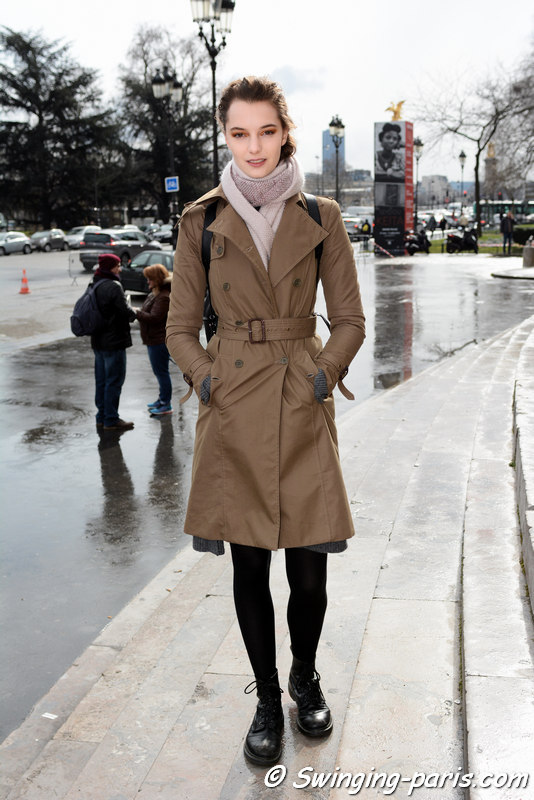 Irina Liss (Ирина Лисс) outside Léonard show, Paris FW 2016 RtW Fashion Week, March 2016