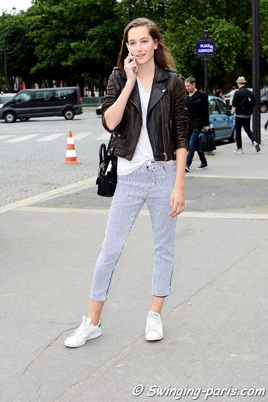 Joséphine Le Tutour leaving Chanel show, Paris F/W 2016 Haute Couture Fashion Week, July 2016