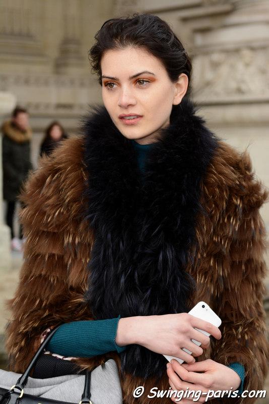 Kim Jaspers outside Léonard show, Paris FW 2016 RtW Fashion Week, March 2016
