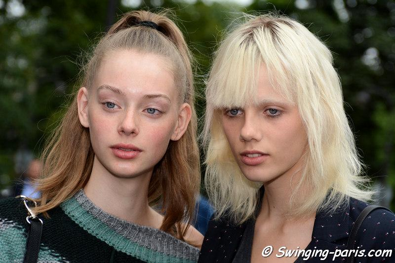 Lauren de Graaf (left) and Marjan Jonkman outside Chanel show, Paris F/W 2016 Haute Couture Fashion Week, July 2016