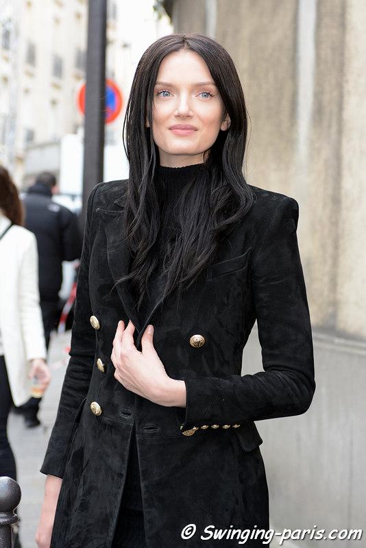 Lily Donaldson exiting Balmain show, Paris FW 2016 RtW Fashion Week, March 2016