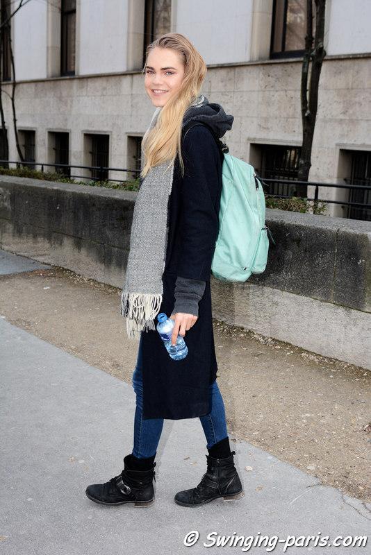Line Brems leaving Paco Rabanne show, Paris FW 2016 RtW Fashion Week, March 2016