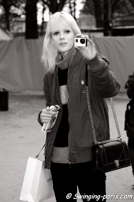 Marjan Jonkman outside Carven show, Paris FW 2016 RtW Fashion Week, March 2016