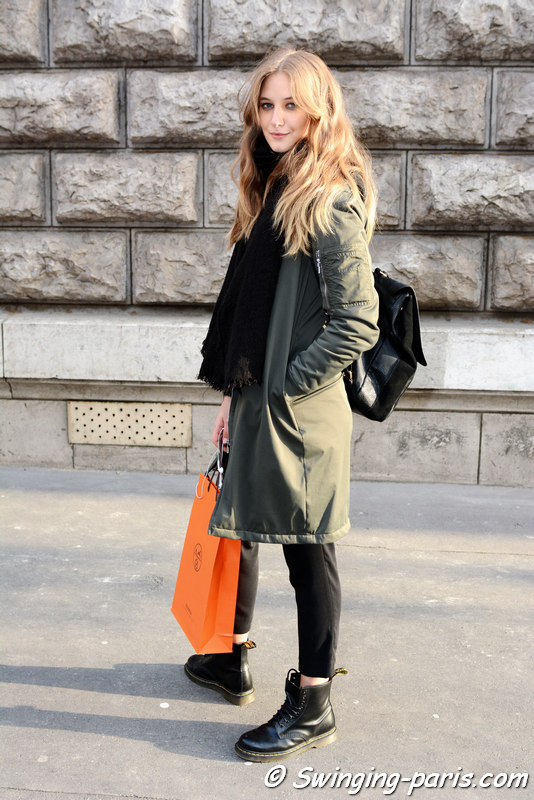 Melina Gesto outside Hermès show, Paris FW 2016 RtW Fashion Week, March 2016