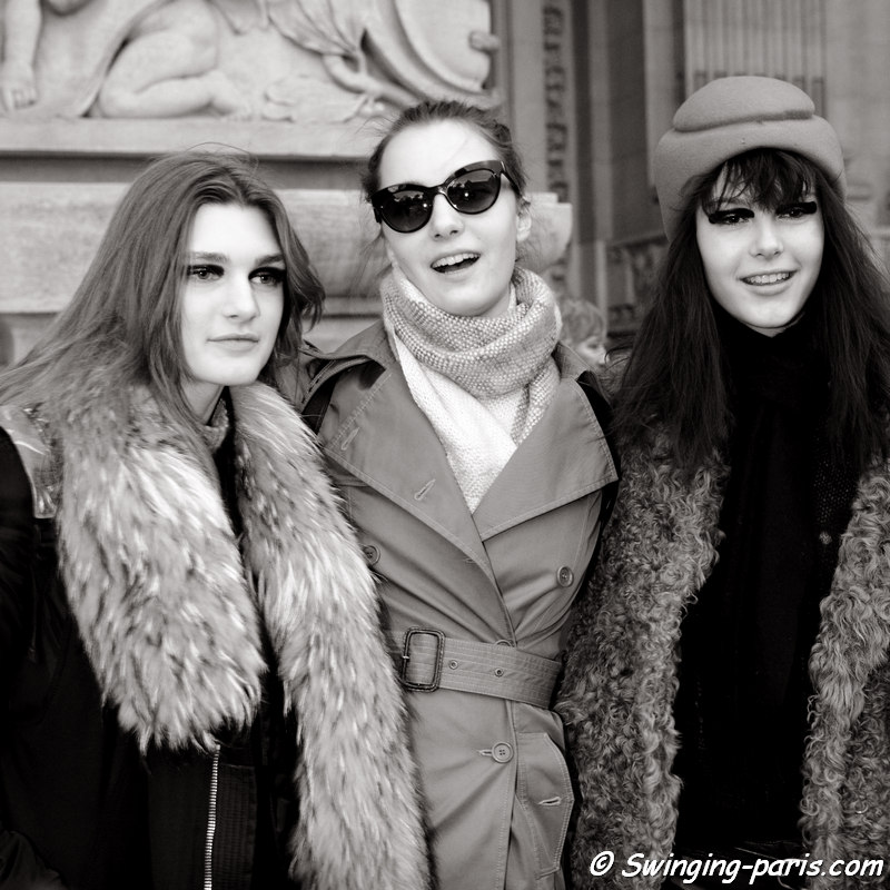 Nastya Abramova (left), Irina Liss (Ирина Лисс) and Irina Shnitman (right) outside Shiatzy Chen show, Paris FW 2016 RtW Fashion Week, March 2016