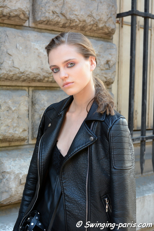 Nataliya Bulycheva leaving Hermès show, Paris S/S 2017 RtW Fashion Week, October 2016