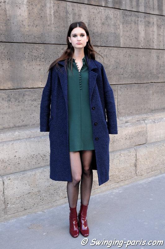 Nika Sykala leaving Dice Kayek show, Paris Haute Couture SS 2016 Fashion Week, January 2016